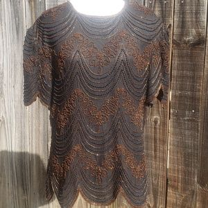 Papell Boutique Evening L Silk Beaded Scalloped